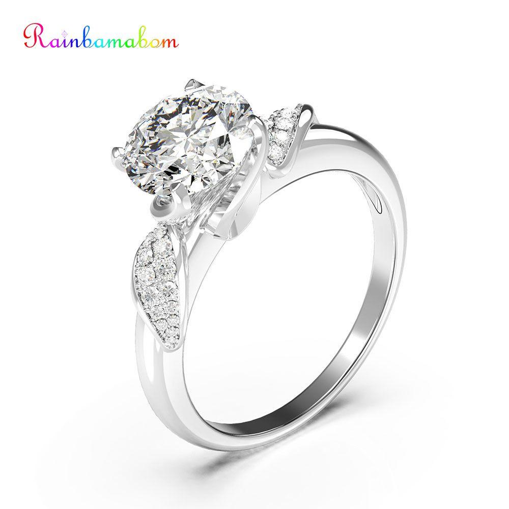 Rainbamabom 925 Solid Sterling Silver Created Moissanite Gemstone Birthstone Wedding Engagement Ring Fine Jewelry Gift Wholesale