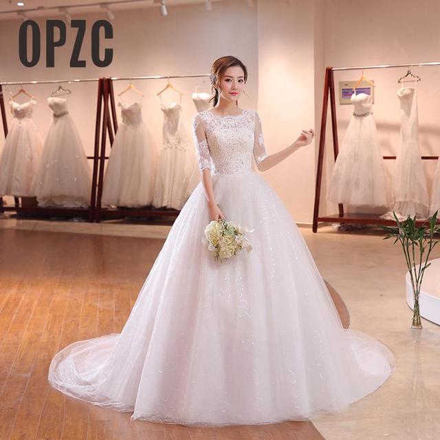 DHL Long Train Half Sleeve Embroidery Lace Wedding Dress 2020 New Arrival Sweep Brush Train Princess bride Gown Vestido De Noiva