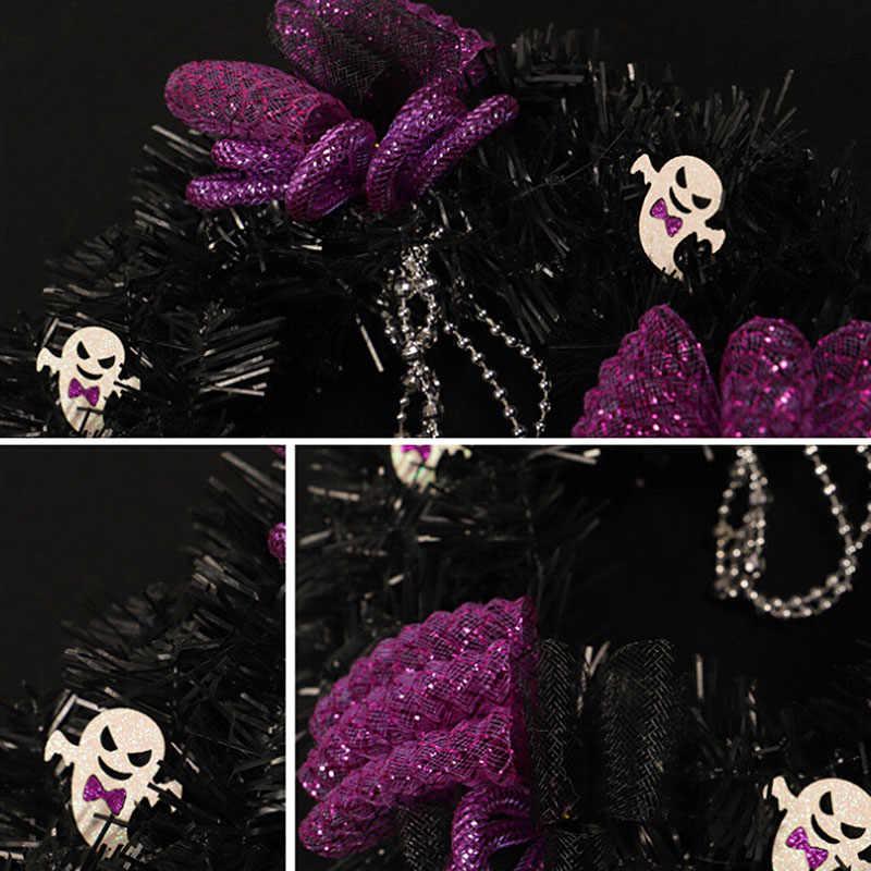 Хэллоуин Черный венок из мишуры с черепами фиолетовые украшения 30 см диаметр Хэллоуин Декоративный венок креативный Призрак черный ПВХ
