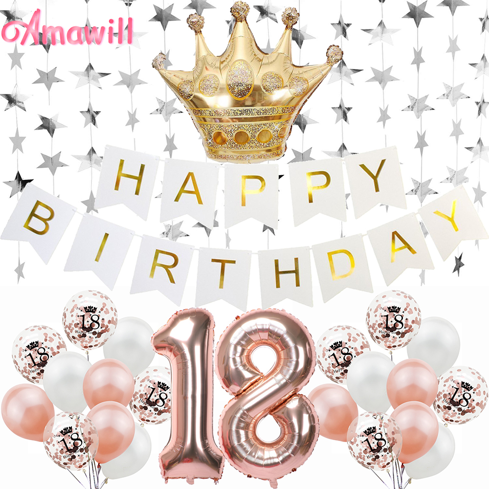 Amawill Rose Gold <font><b>18</b></font> Years Old Party <font><b>Decorations</b></font> Star Garland 32inch Number Balloon Adult 18th <font><b>Birthday</b></font> Party <font><b>Decorations</b></font> 75D image