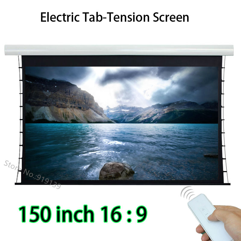 Clear Picture 150inch 16 9 HDTV Tubular Motor Tab Tension Electric Projection Screen With Wireless Remote