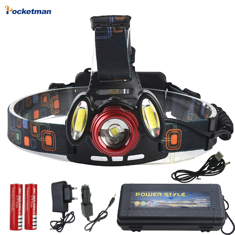 2018 NEW 7000 Lumen Pwerful LED Head Flashlight Head 18650 Battery XM-L T6 COB LED Headlamp Hunting Fishing Headlight Lamp cob led headlamp rechargeable cob headlight white red green lights 18650 battery head torch flashlight for hunting night fishing