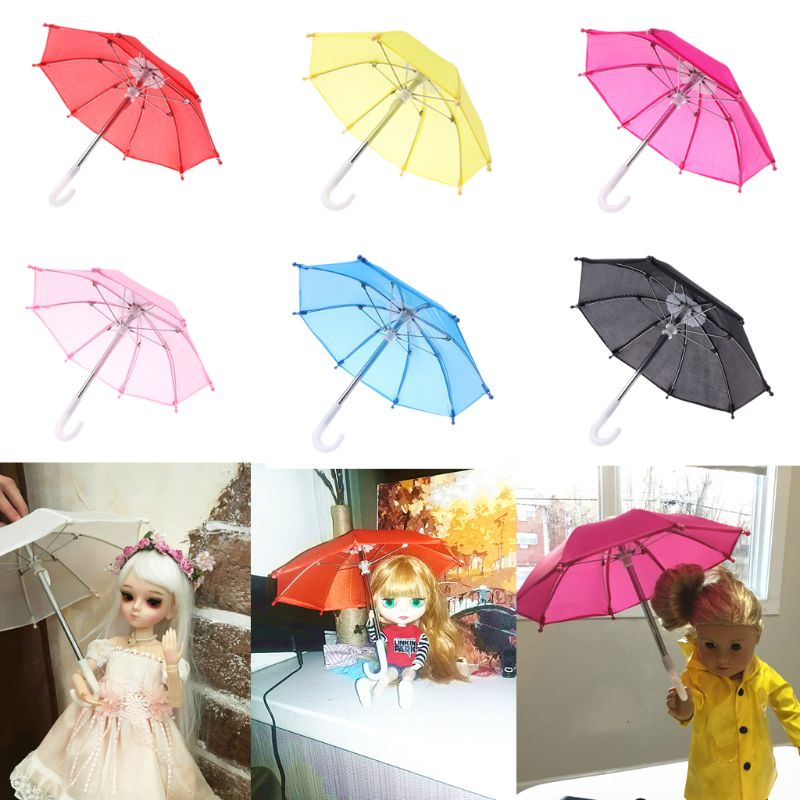 Colorful Mini Umbrella Rain Gear For American Doll 18 Inch Doll Accessories Baby Photography Props(China)