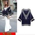 3xl плюс большой размер свитер женщин весна осень зима 2017 feminina асимметричная свободные синий белый свитер женский A2190