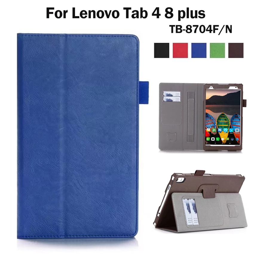 Tab4 8 plus Wallet Case Cover 8'' PU Leather Protective Stand Skin for Lenovo TAB 4 8 Plus TB-8704F/N Smart Tablet PC Card Slots ultra thin smart flip pu leather cover for lenovo tab 2 a10 30 70f x30f x30m 10 1 tablet case screen protector stylus pen