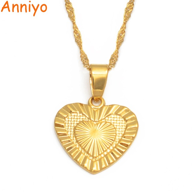 Anniyo Heart Pendant and Necklaces Romantic Jewelry Gold Color for Womens Girls Wedding Gift Girlfriend Wife Gifts #006110