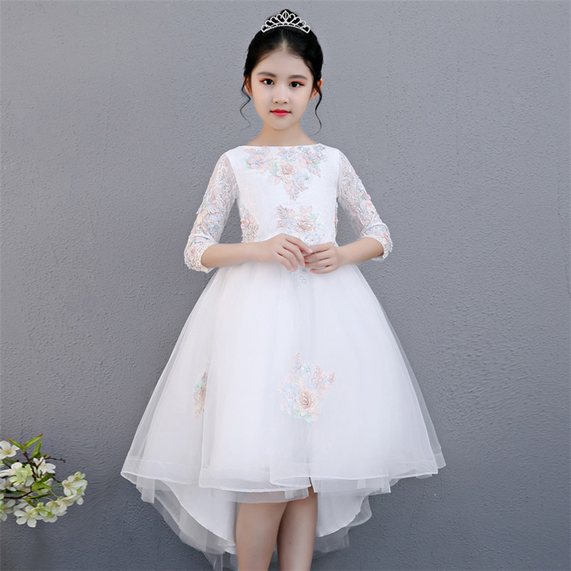2018 Autumn New Flowers Girls Kids Princess Party Wedding Gowns Dress for Children Graduation Ceremony Long Tail Formal Wear children s wear russia court style mosaic flowers side large hem princess dress