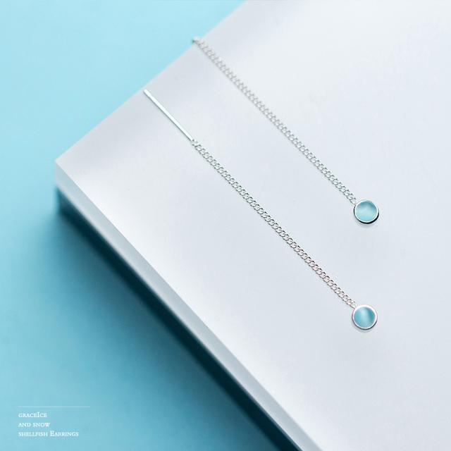 INALIS Hot Sale Fashion Long Chain Ear Line S925 Sterling Silver Fine Jewelry Light Blue Crystal Dangle Drop Earrings for Girl