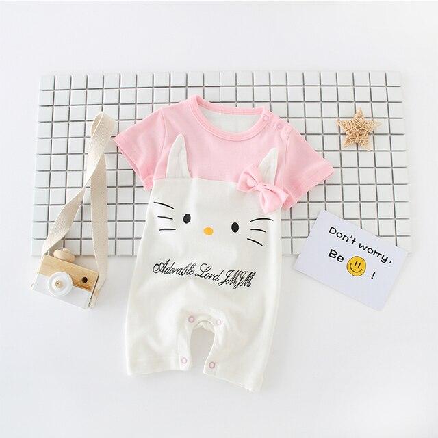 Poco de Color Rosa Hello Kitty Mamelucos Del Bebé de Manga Corta Pijamas  Del Bebé Baberos de Dibujos Animados Bebé Ropa de Las Muchachas del ...