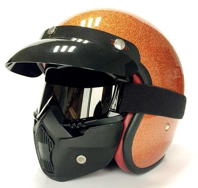 abnehmbare mund filter motorrad retro jethelm brille maske. Black Bedroom Furniture Sets. Home Design Ideas