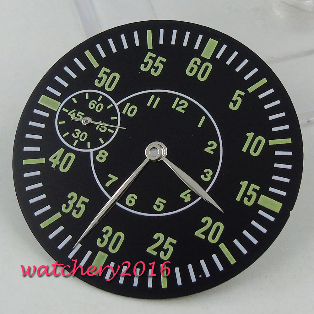 38.9mm Watch Dial + Watch Hands Kit ETA 6497 Seagull ST36 Movement Sterile Watch Faces | Repair Tools & Kits