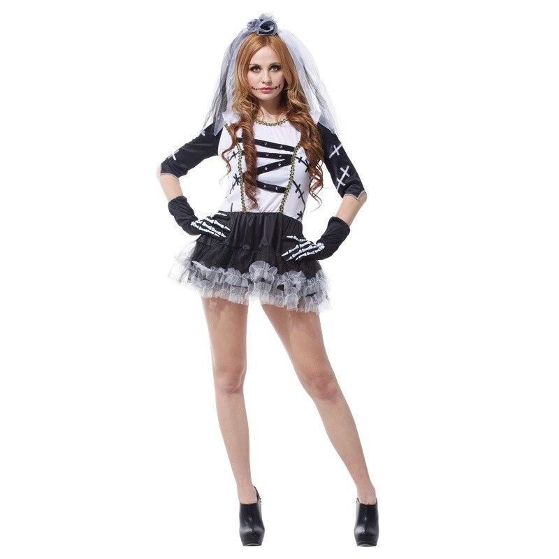 Livraison gratuite Adulte femme Halloween Horreur fantôme Mort mariée  vêtements Halloween est monté Mort costumes pour femmes deguisement eb171ca4c766