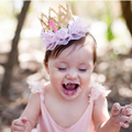 Newborn Baby Birthday Crown Headband Flower Lace Tiara Headband Little Girls Party Hair Accessories Baby Gift HB278