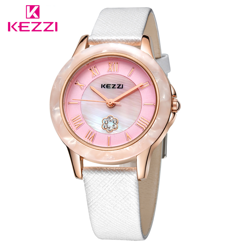 KEZZI Brand Women Cameo Shell Dial Watches Luxury Rhinestone Watch Fashion&Casual Wristwatch Dress-Watch Bracelet-Watches Clocks hot sales kezzi brand luxury bracelet watches women fashion design quartz wristwatches love shape dial female gift clocks