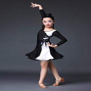 Image 4 - 白黒ラテンダンスの競技会ドレスラテンダンスのドレス子供ラテンダンス衣装子供
