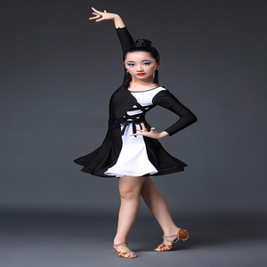 Image 4 - White black latin dance competition dresses latin dance dress for girls kids latin dance costume for girls kids