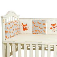 6 PCS Per Set 30*30cm Cotton Crib Bedding Bed Bumper Fence Fox Pattern