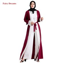 Women Abayas Dubai Blue Red Bolero Muslim Caftan Lace Patchwork Robe Tunic Kimono Cardigan Arab Kaftan Islamic Clothing 2019(China)