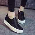 2017 fashion bling women's casual shoes platform high heels height increasing canvas shoe low cut woman loafer free shipping