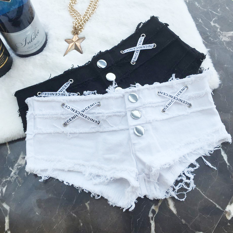 Hot Befree Fashion short jeans woman Sexy denim Low waist Lace Up black White jeans Women Hole Club Casual ladies shorts clothes in Jeans from Women 39 s Clothing