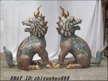 China Royal style 100% Bronze Cloisonne gold UNICORN kylin FU FOO DOG lion PAIR Garden Decoration 100% real Brass Bronze