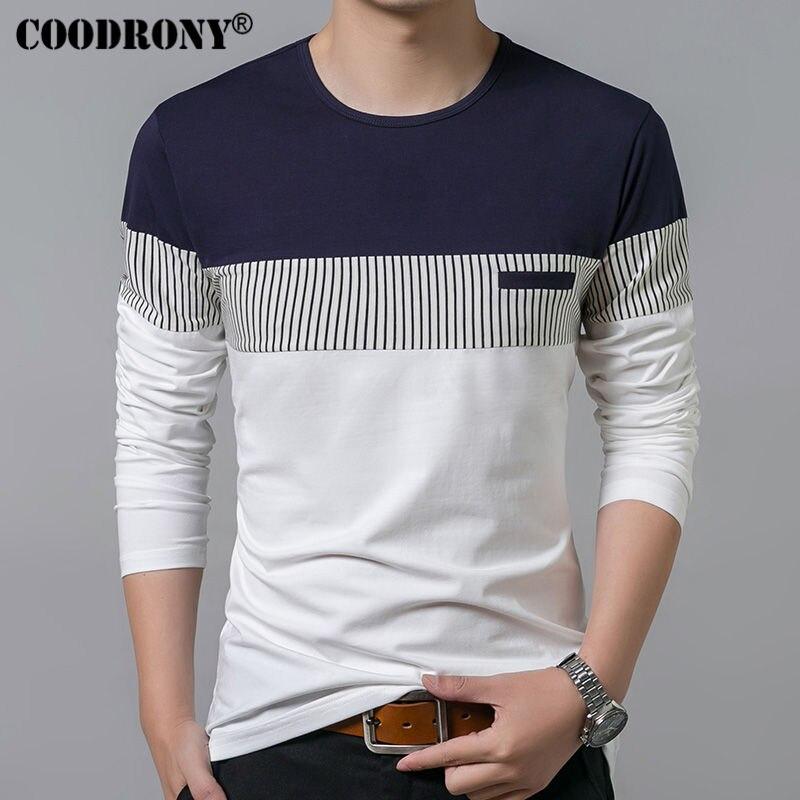 COODRONY T-Shirt Männer 2017 Frühling Sommer Neue Langarm Oansatz t-shirt männer marke clothing mode patchwork baumwolle t tops 7622