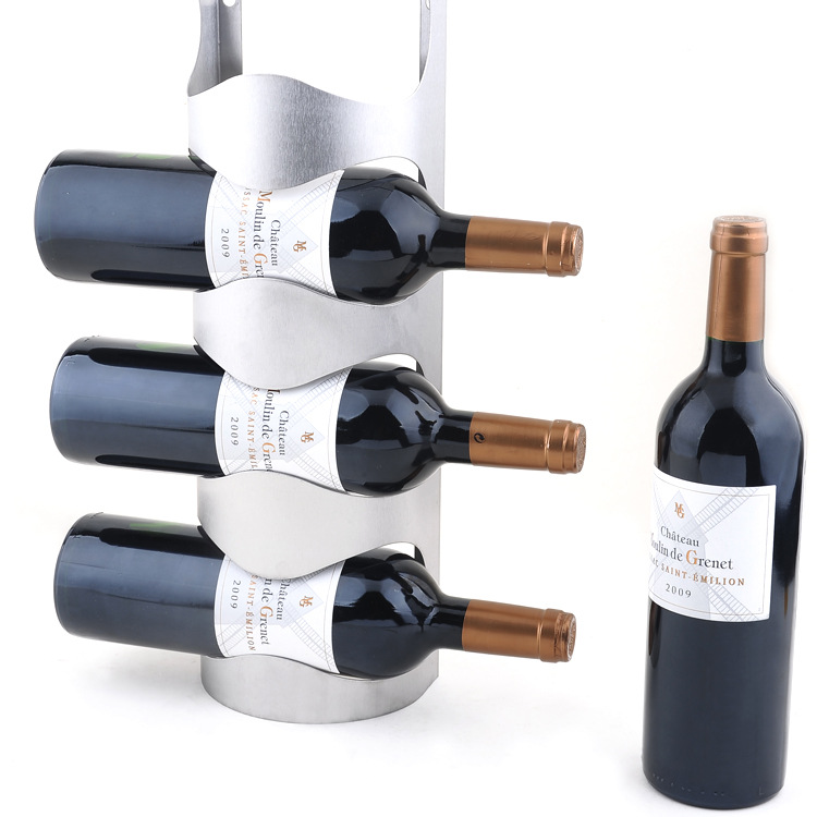 Stainless Steel Wall Mounted Wine Rack Iron Decorative Wall Mounted
