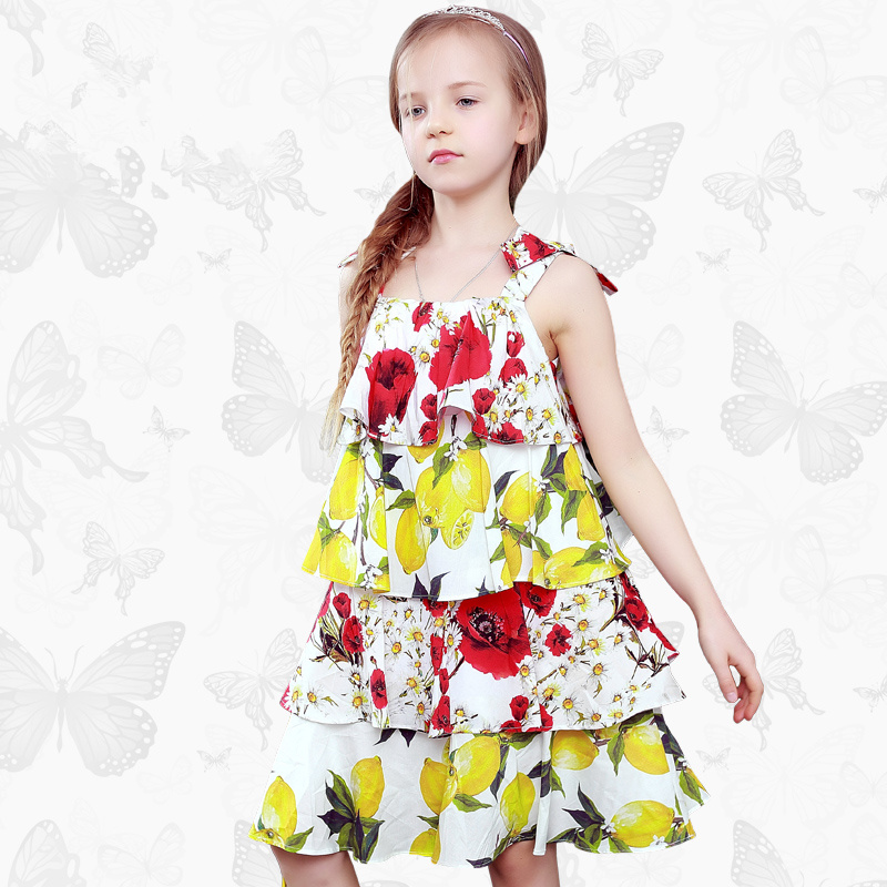 Toddler Girls Dresses Children Clothing 2017 Brand Princess Dress for Girls Clothes Fish Print Kids Beading Dress FANAIDENG 50
