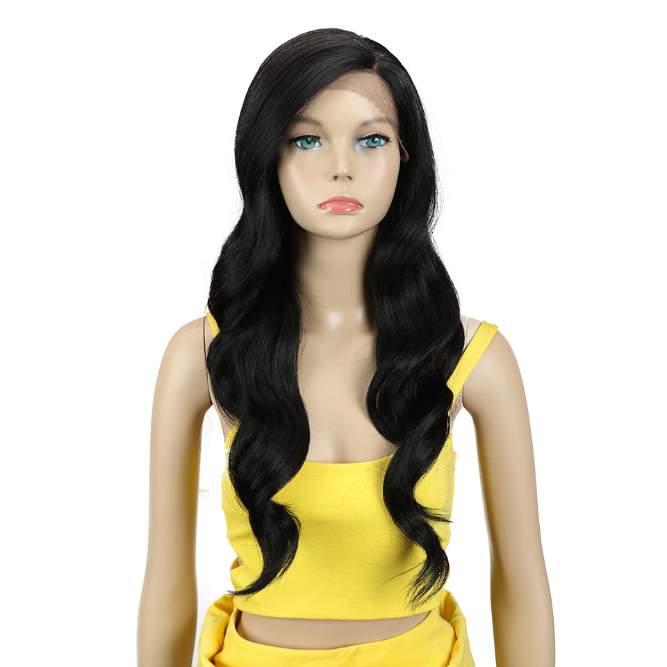 MAGIC Hair 26 Inch Ombre Dark Red Blonde Long Wavy Wigs Front Lace Hair Synthetic Lace Wigs For Black Women Heat Resistant Hair