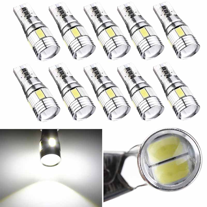 10pcs High Quality T10 5630 Cool White Bulb 6 SMD LED Canbus Error Free Car Wedge Light Lamp Bulb On Sale cyan soil bay 1x canbus error free white t10 5630 6 smd wedge led light door dome bulb w5w 194 168 921 interior lamp