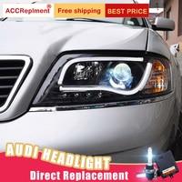 2Pcs LED Headlights For Audi A6 1999 2004 led car lights Angel eyes xenon HID KIT Fog lights LED Daytime Running Lights