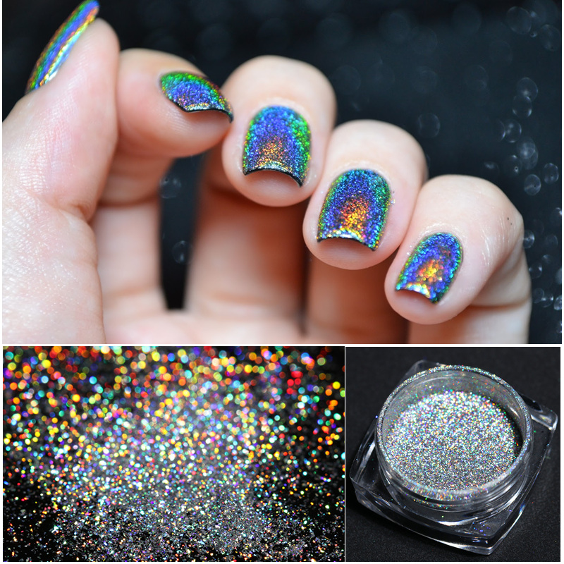 BORN PRETTY Holo Laser Rainbow Nail Glitter Powder Super Shine Holographic Nail Art Dust Pigment Hologram