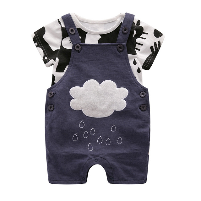 ceec81d6 Summer style baby boy clothing set newborn infant clothing 2pcs short  sleeve t-shirt + suspenders gentleman suit Clouds of rain