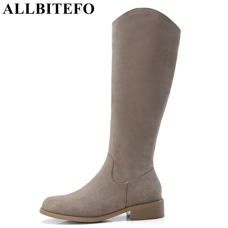 все цены на ALLBITEFO thick heel genuine leather women knee high boots fashion brand high heels women boots winter long boots girls shoes онлайн