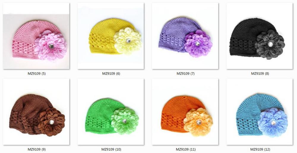 100 unids tejer sombreros algodón Kufi casquillos con Peony gerbera ...