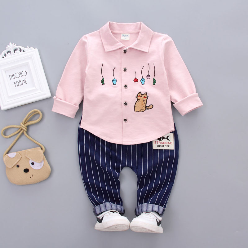 Hot Sales Children Clothing Boys Girls Sets Spring Autumn Baby Turn-down Collar Tops+ Pants 2Pcs/Set Cotton Long Sleeved T Shirt