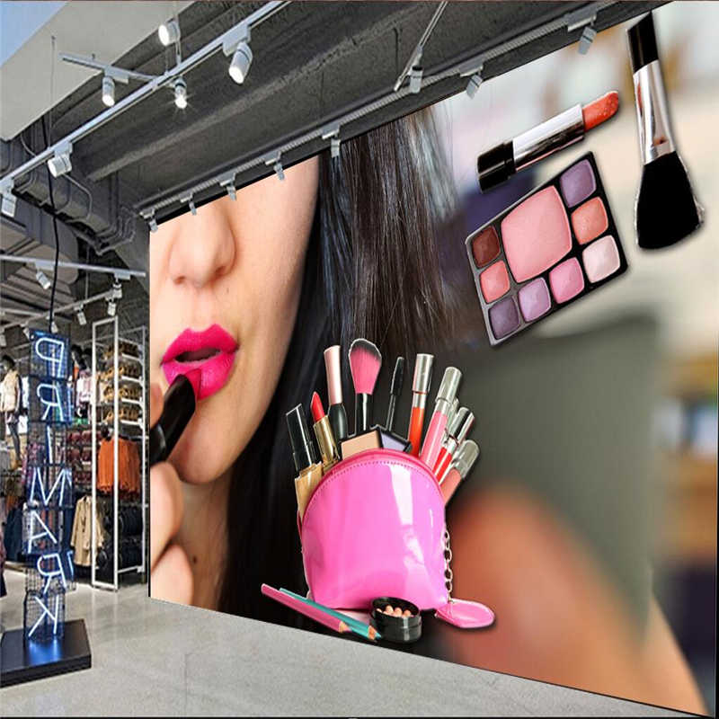 ... beibehang Large wallpaper mural custom any size beauty salon make-up shop lip sexy red