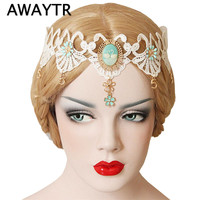 AWAYTR Elastic Lace Headbands for Women Vintage Wedding Swan Print Wide Headband White Lace Flower Gold Hairband Headpiece
