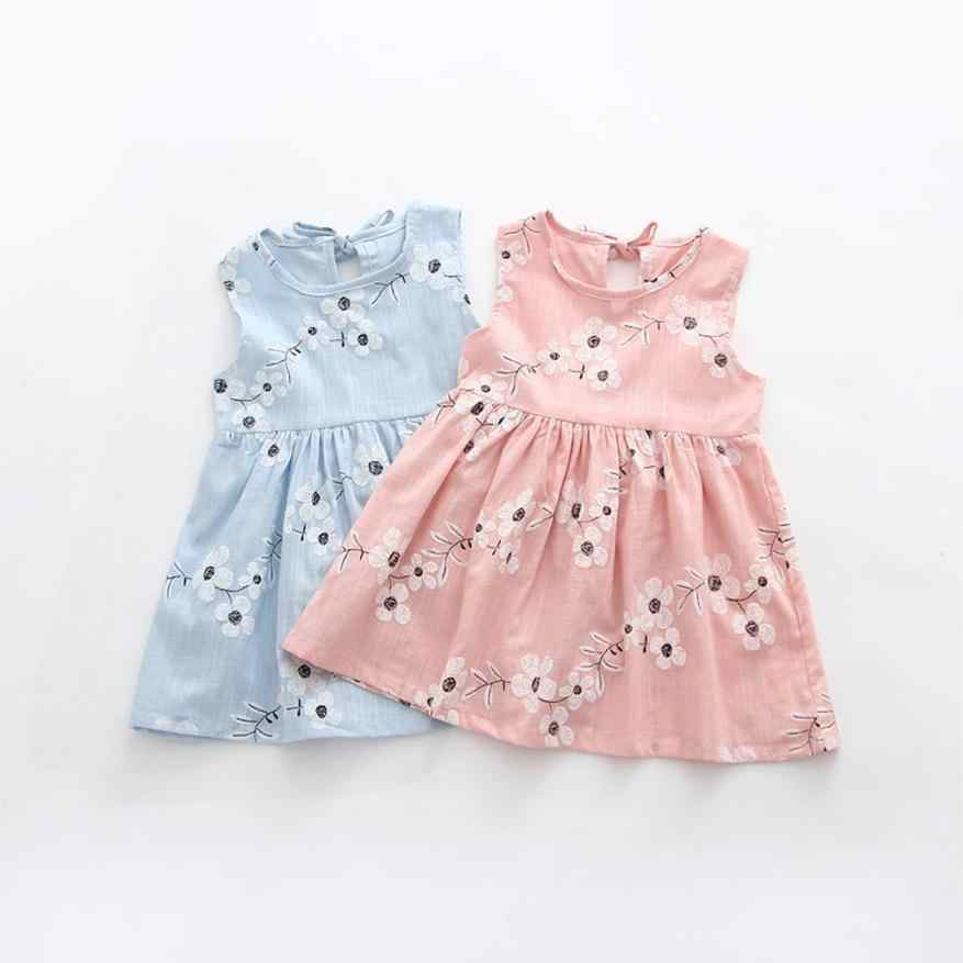 Baby Kids Girls Sleeveless One Piece Dress Print Bowknot Tutu Summer Clothes 15
