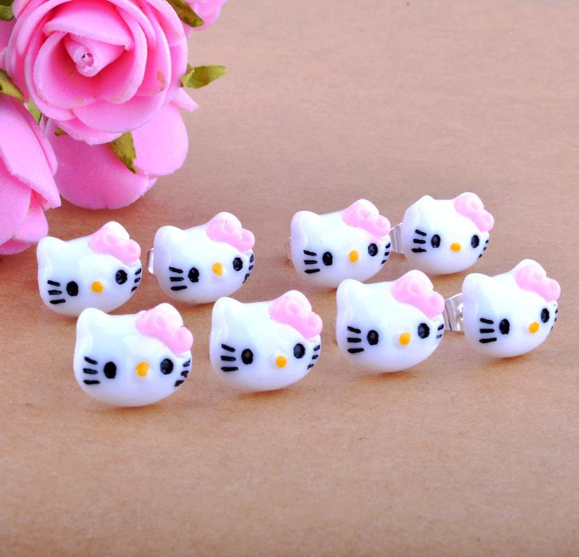 Free Shipping 12pcs 6pairs 12x10mm Lovely Cat Funky Mini Candy Stud Earrings Cute Kitsch Sweet Pop Kawaii In From Jewelry Accessories On