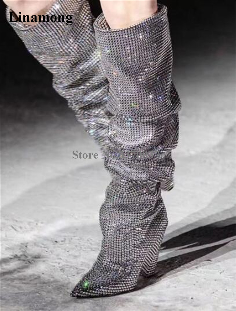 Women Luxury Bling Bling Pointed Toe Rhinestone Knee High Spike Heel Boots Crystal Gold Silver Long Diamond Folded Club Boots new design women fashion pointed toe bling bling over knee rhinestone boots crystal long high heel boots luxury thin heel boots