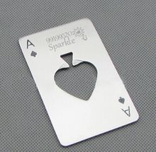 Personalized LOVE heart Spades A beer opener engrave with your restaurant name/logo/telephone/address 50g/pc great quality