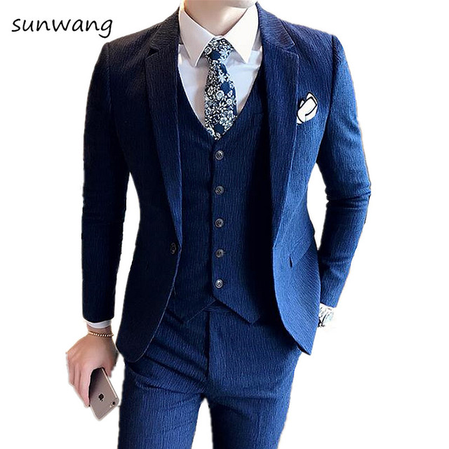 Sun New Custom Made Menclic Royal Blue Groom Slim Fit Suits Mens Vintage Wedding Prom