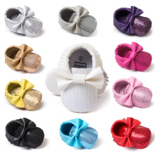 Free Shipping Spring Baby Girl Shoes Bowknot Tassels Bead Baby Toddler Shoes Newborn Leather Infant Moccasins Newborn Crib Shoes