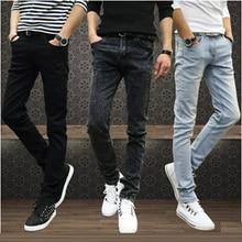 Venta caliente de Los Hombres Jeans Pantalones Lápiz Stretch Jeans de Marca para Hombre Casual Slim Fit Pantalones Flacos Chicos Denim Masculino Motorista Hombre Azul Negro gris