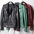 Nova chegada senhora mulheres de roupas de couro projeto curto motocicleta jaqueta de couro de pele de carneiro outerwear formal elegante