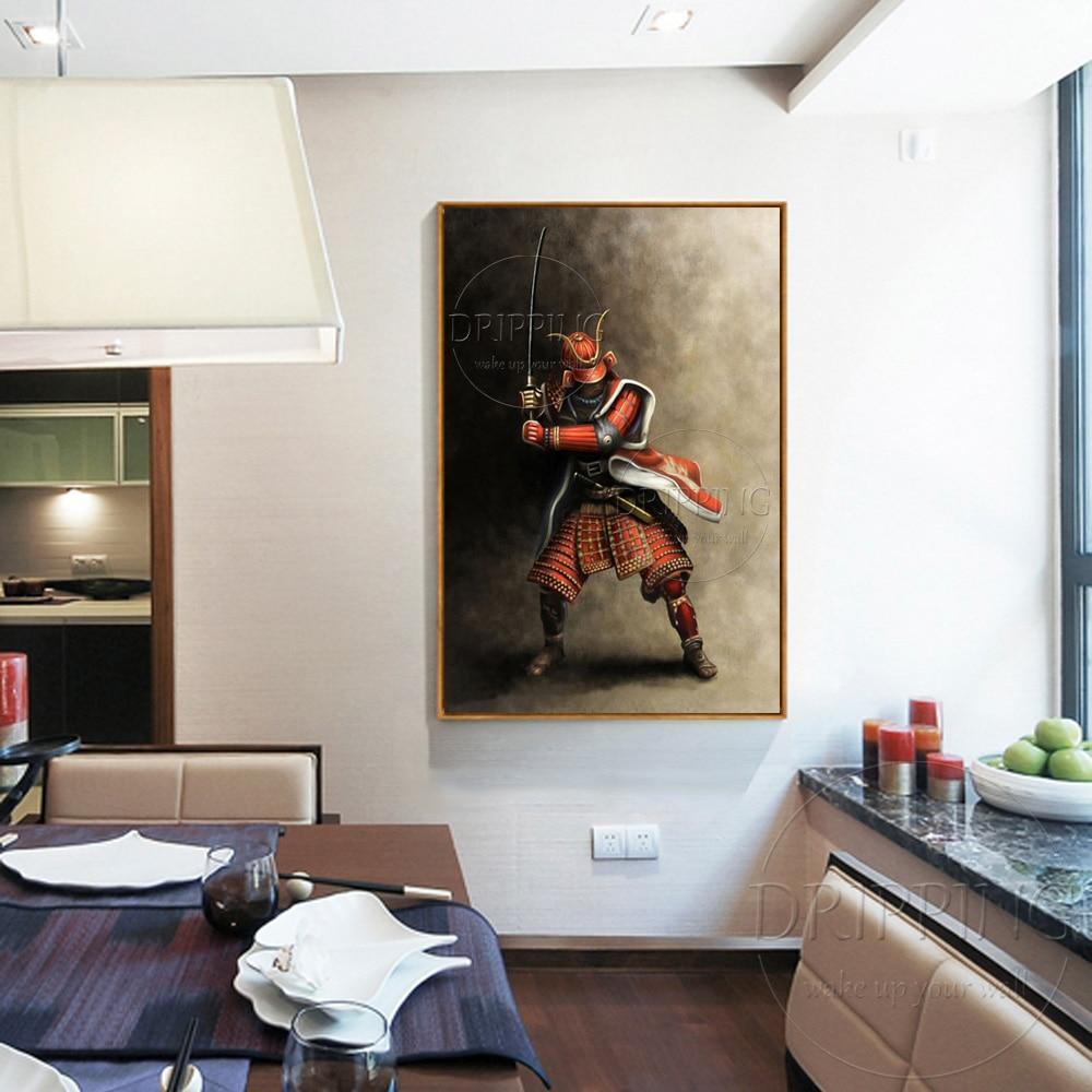 Top Kunstenaar Handgemaakte Hoge Kwaliteit Japanse Samurai Olieverfschilderij Handgemaakte Impressionistische Japanse Samurai Olieverf-in Schilderij & Schoonschrift van Huis & Tuin op  Groep 2