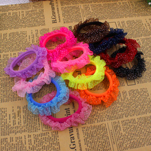 10pcs/lot Lace Hair Holders Elastics 2016 New 12 Colours Fashion Candy Colours Child Girls' Rubberbands Tie Gum Hair Accessories