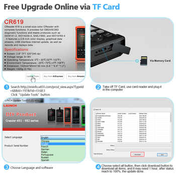 Launch CR619 OBD2 Scanner automotivo Professional Engine ABS SRS Airbag Code reader scan Car Diagnostic Tool OBD 2 Auto Scanner
