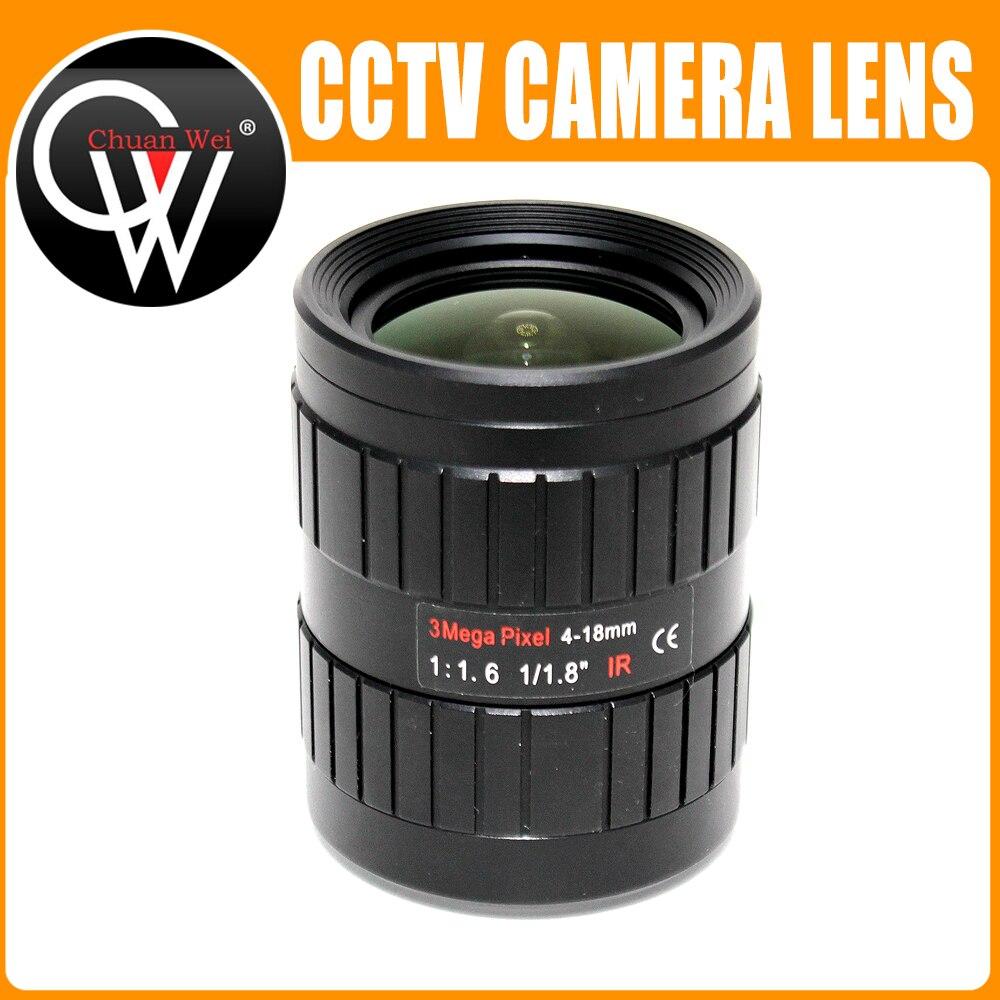 Lentille de vidéosurveillance 3MP 4-18mm IRIS manuel Varifocal 1/1. 8 pouces C monture lentille industrielle pour IMX185 1080 P boîte caméra IP caméra